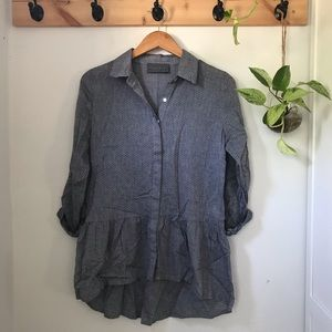 Anthropologie blue cotton tunic top